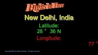 New Delhi India - Latitude and Longitude - Digits in Three