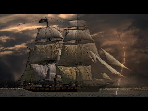 ▶️ SAILING SHIP IN THE WIND, RAIN AND THUNDER. SHIP STORM SOUNDS. 12 HOURS. 📢