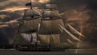 ▶️ Sailing Ship In The Wind, Rain & Thunder. Ship Storm Sounds. 12 Hours.