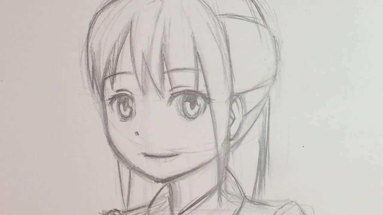 draw anime female face 3 4