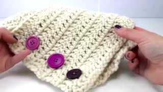 Шарф с пуговицами вязание крючком
