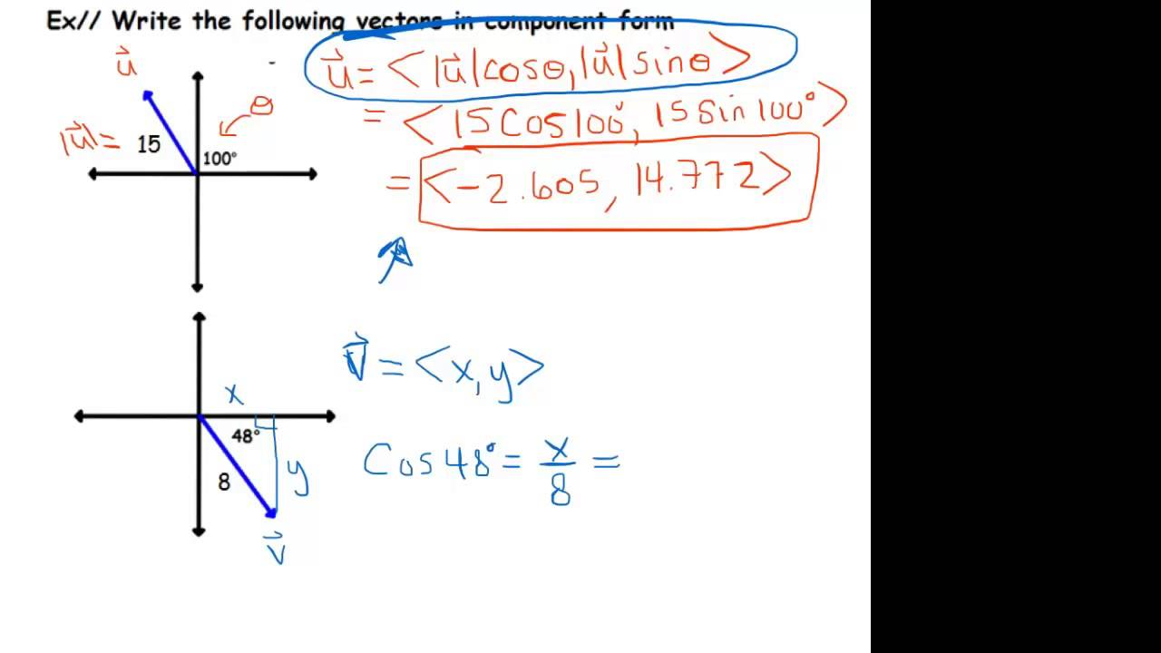 Component Form Given Magnitude and Direction Angle - YouTube