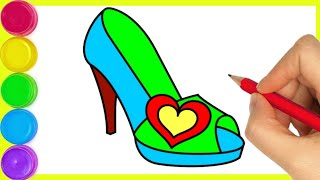 How to draw a high heeled sandal step by step drawing for beginners to colouring drawing.By Arya Art