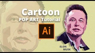 Elon Musk pop art cartoon tutorial | using adobe illustrator