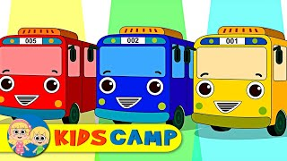 Learn Colors with Wheels On the Bus Finger Family Song by KidsCamp