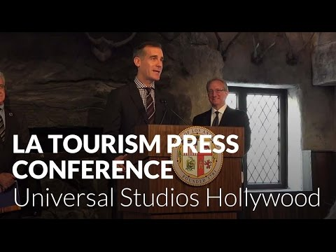 Eric Garcetti announces new records for Los Angeles tourism at Universal Studios Hollywood