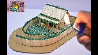 How to Make Match House at Amazing Fire Domino | Match Chain Reaction | Match Stick House