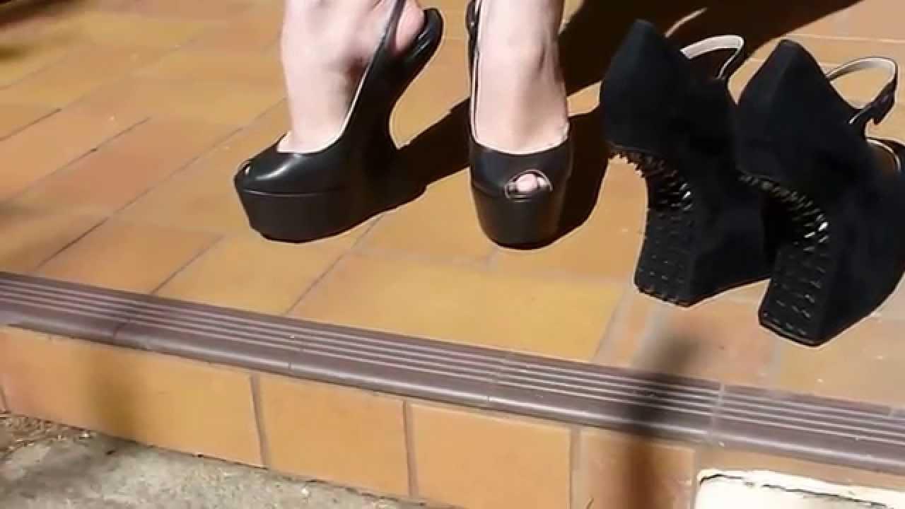 Black Slingback Platform Shoes