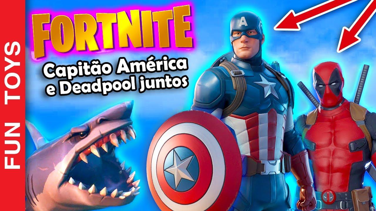 Capitão América e Deadpool juntos em partidas do FORTNITE #7 Teve até TUBARÃO ajudando a nossa DUPLA