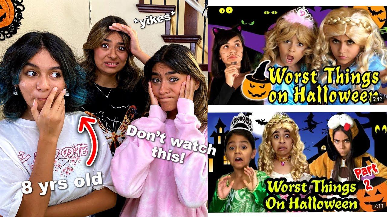 Reacting to WORST things on Halloween videos   GEM Sisters