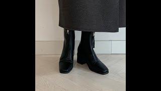 윈터 스퀘어 발등 지퍼 미들굽 앵클부츠 (5cm)
