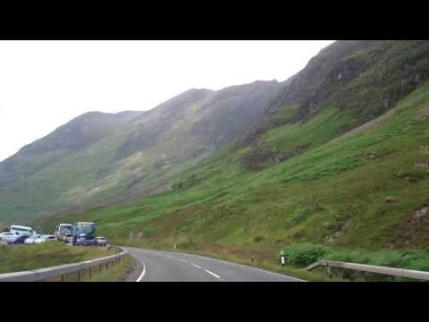 Drive West Through Glencoe Scottish Highlands Of Scotland August 2nd