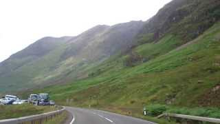 Drive West Through Glencoe Scottish Highlands Of Scotland August 2nd