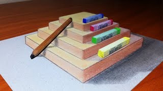 How to make easy a 3D drawing Pyramid, Pencil and Pastel Trick Art illusion