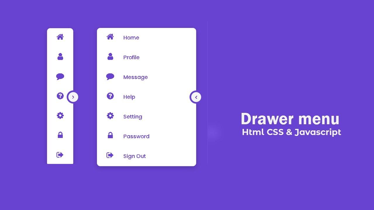 Responsive Navigation Drawer Menu Using Html CSS & Javascript | Drawer Menu