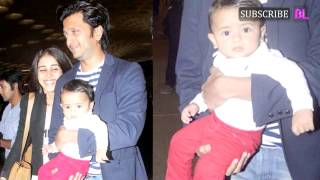 Riteish Deshmukh and Genelia D'Souza step out with baby Riaan for the first time ever and we can't g