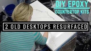 Metallic epoxy coating on 2 old desk tops with Leggari products.