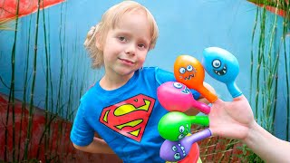 Bermain Mengisi Air Dalam Balon Daddy Finger Nursery Rhymes | Learn Colors With Balloons