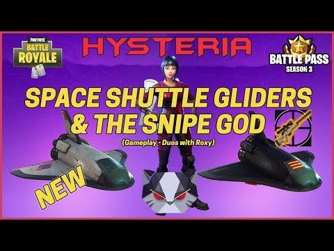 Hysteria   Fortnite Battle Royale Gameplay - New Gliders! Deep Space Lander & Snipes - Duos w/ Roxy