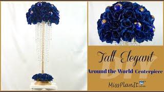 DIY Tall Elegant Around the World Centerpiece | Tall Wedding Centerpieces | DIY Tutorial