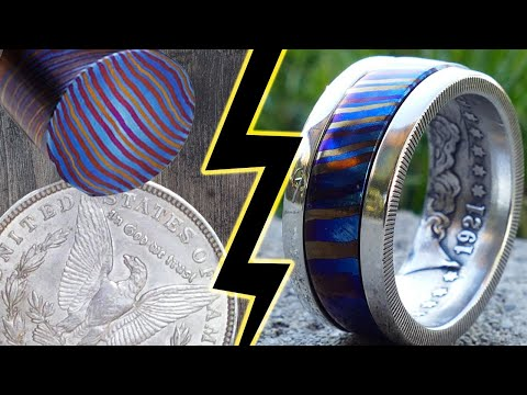 Making a Spinning Ring from Titanium Damascus and a Silver Dollar