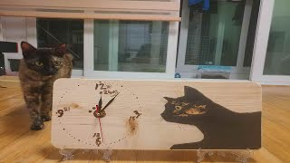 고양이집사가 직접만든 핸드메이드 고양이캐릭터 나무벽시계
