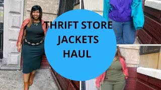 THRIFT STORE JACKETS/OUTERWEAR TRY ON HAUL|THEHAYESSISTERS
