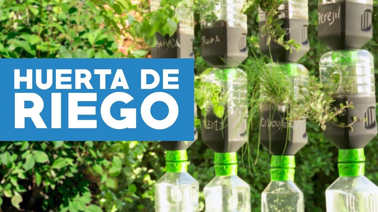 C mo hacer una huerta de riego por goteo con botellas for Sistema de riego jardin vertical
