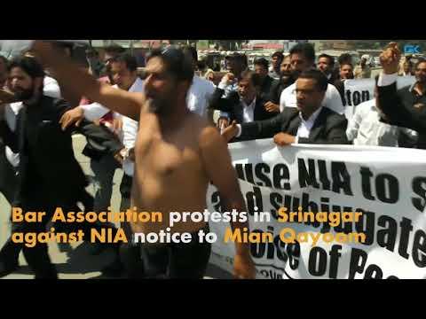 Bar Association protests in Srinagar against NIA notice to Mian Qayoom