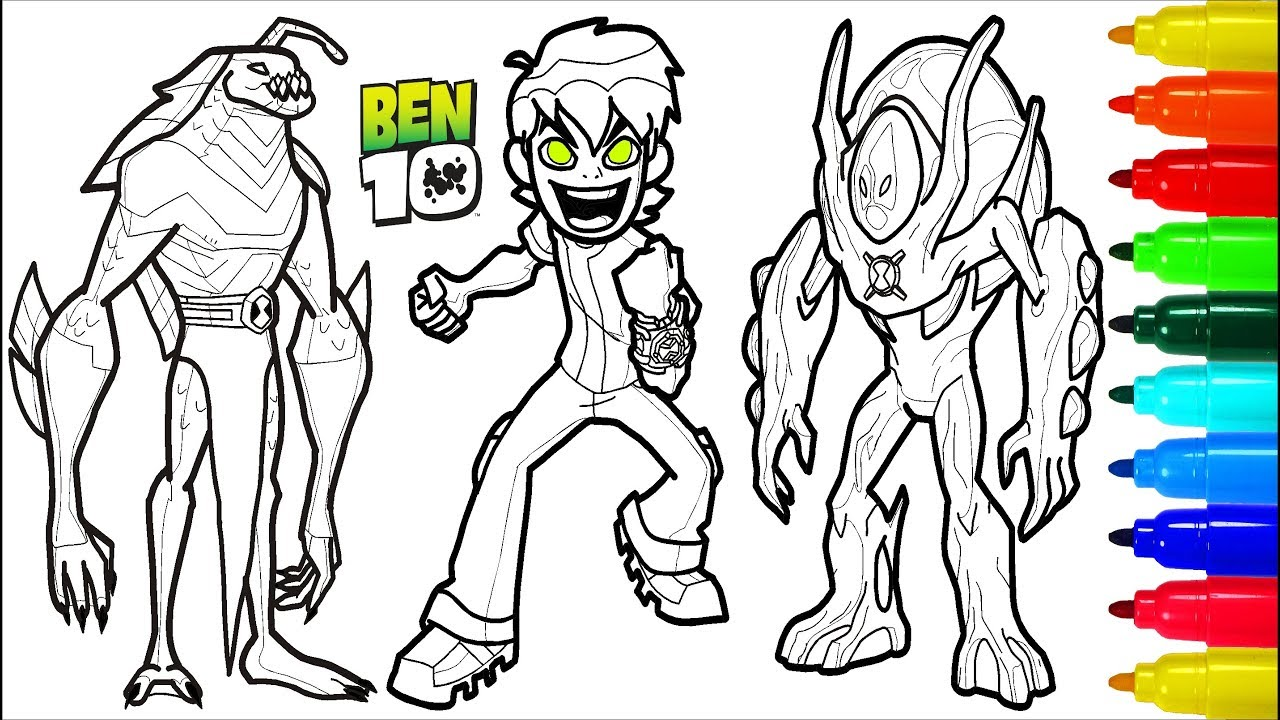 Ben 10 Coloring Pages Colouring Pages For Kids Youtube
