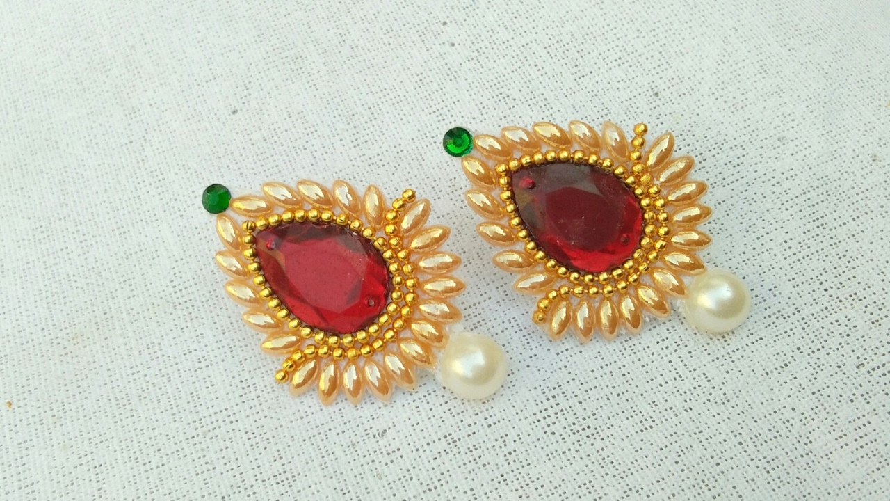 studded indian stone white designer earrings jewellery fancy box jewelry