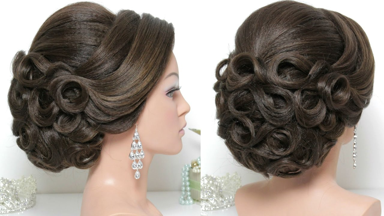 Bridal hairstyle for long hair tutorial. Updo for wedding ...
