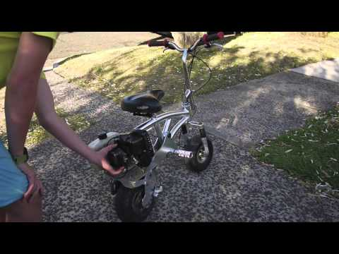 go-ped mini bike pocket bike gas scooter for sale video startup rev ride