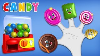 Fun Candy Finger Family Rhyme with Gumball Machine for Children