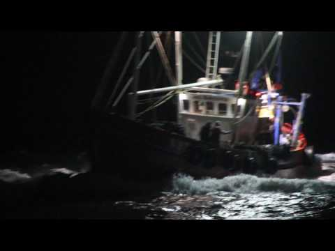 Ardglass Fishing Trawler, Sea Harvester coming home in the dark, Irish sea