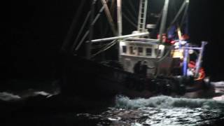 Ardglass Fishing Trawler, Sea Harvester coming home in the dark, Irish sea