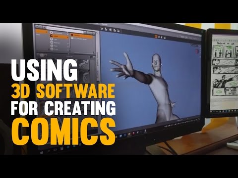 Using 3D software for creating a comic page