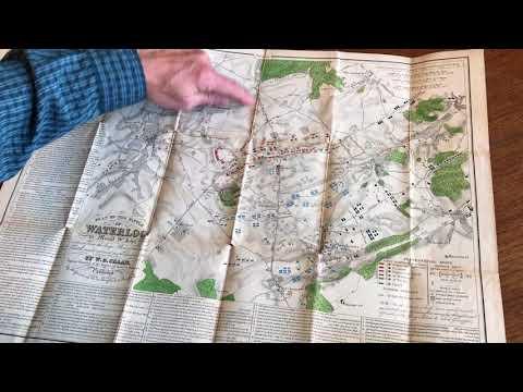 [SOLD] Napoleon Battle of Waterloo map 1845 Craan large detailed rare pocket plan