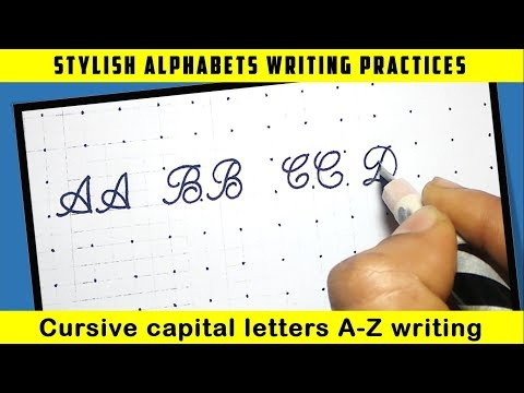 Cursive Writing A-Z For Beginners   Cursive Capital Letters Writing Practice[Hindi]