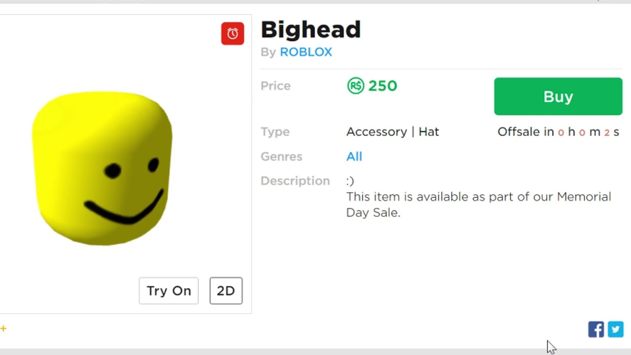 Buying The Big Head Roblox Hat Youtube Watching The Bighead Go Off Sale Youtube