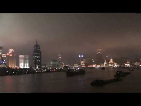 Shanghai by night filmed from Penthouse with Verandah on Crystal Symphony