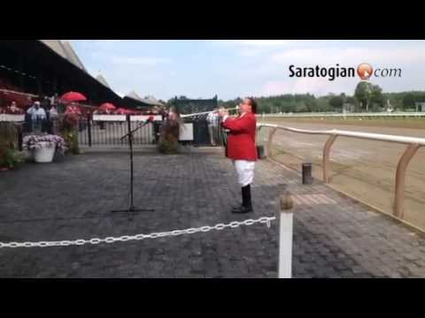 Sam the Bugler doing what he does best before Evan Shipman Stakes at  Saratoga Race Course