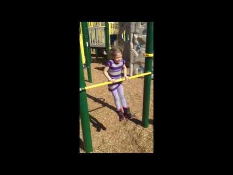 Five year old gymnast gets kip on bar!