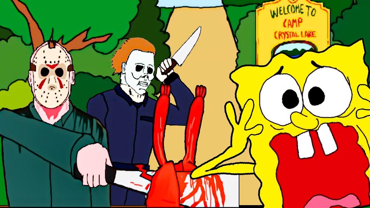 Spongebob VS Jason VS halloween (Michael Myers) *SCARY*