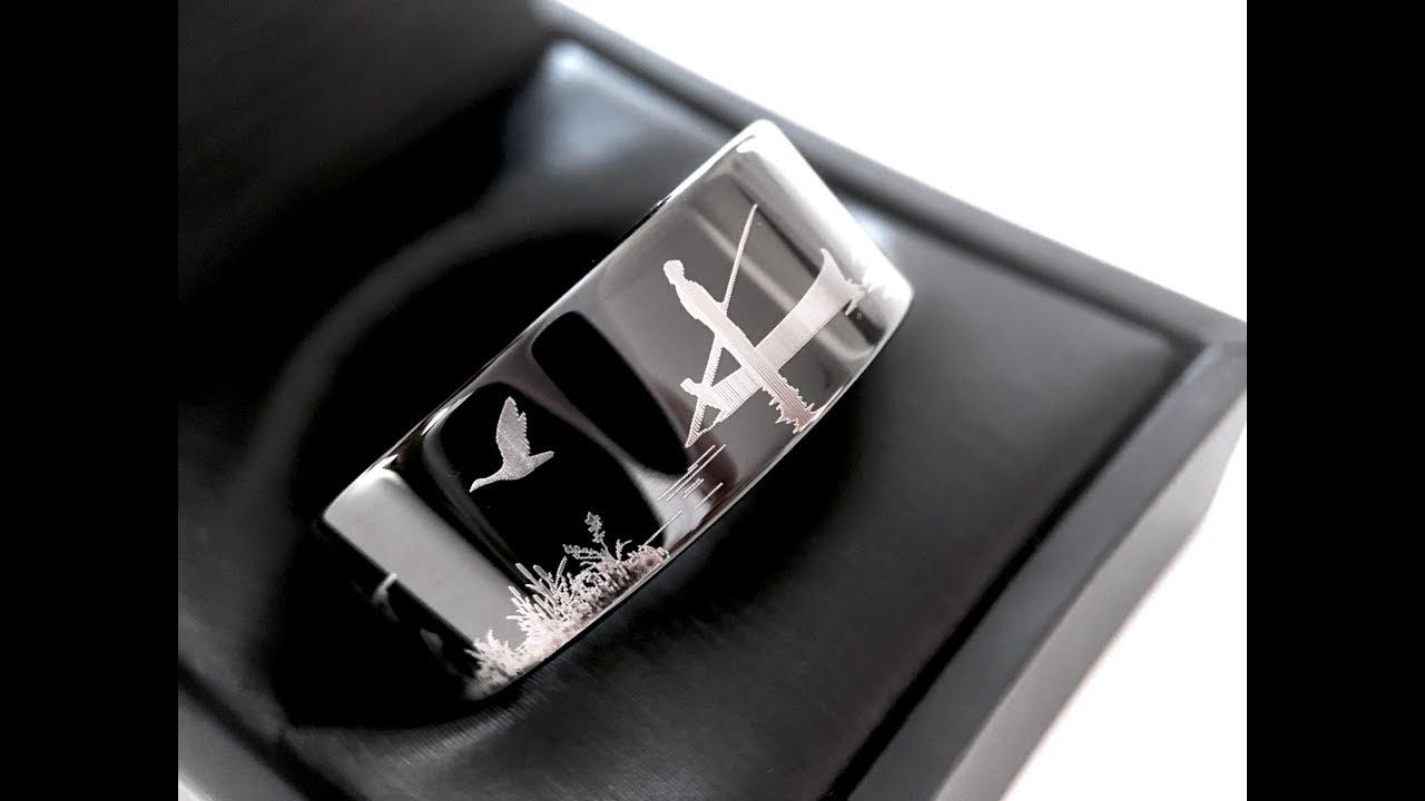Hunter Ring Fisherman Ring Mens Wedding Ring Mens Tungsten Ring