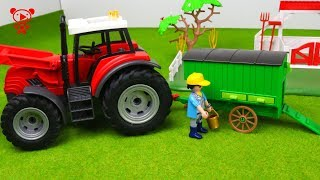 Trucks for kids, tractor, lego toy truck, farm animals for kids
