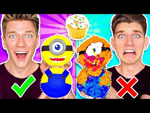 CUPCAKE ART CHALLENGE!!! Learn How To Make Minions Star Wars
