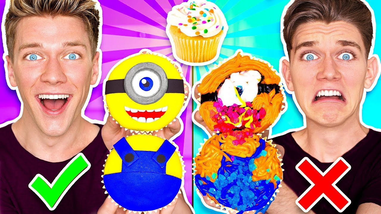 CUPCAKE ART CHALLENGE!!! Learn How To Make Minions Star Wars Jedi & Mario Nintendo Food DIY Pancake