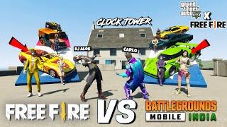 GTA X FREEFIRE : FREEFIRE VS PUBG SUPER MEGA RAMP JUMP CHALLENGE IN CLOCK TOWER WITH SHINCHAN #2