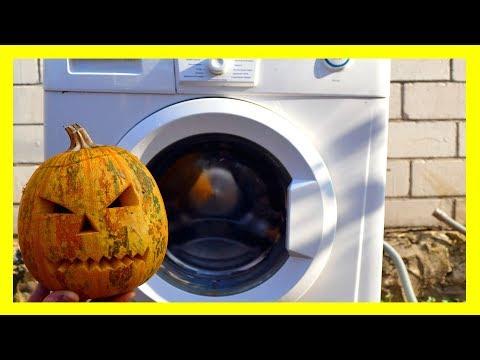 Experiment: Halloween Pumpkin In A Washing Machine - Centrifuge